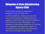 obligation of state administering agency saa