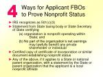ways for applicant fbos to prove nonprofit status