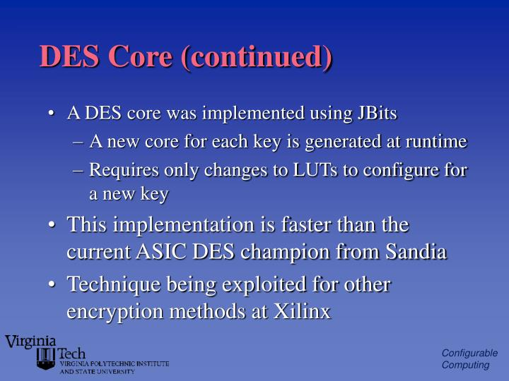 DES Core (continued)
