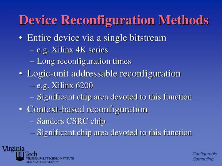 Device Reconfiguration Methods