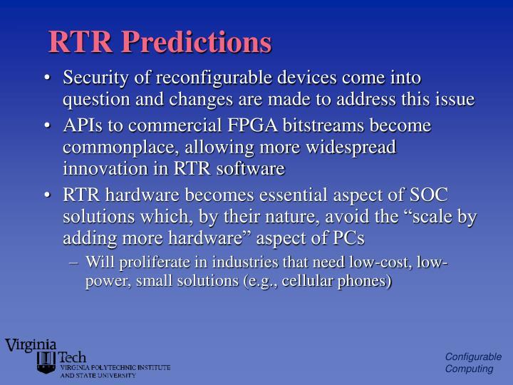 RTR Predictions