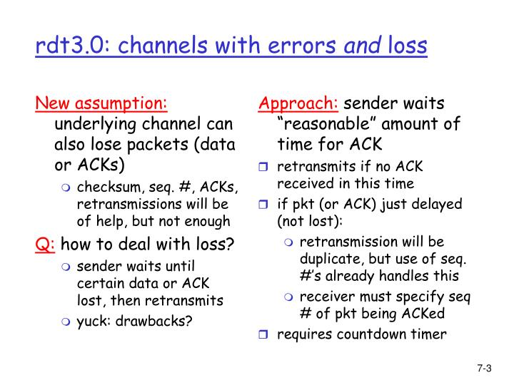 Rdt3 0 channels with errors and loss