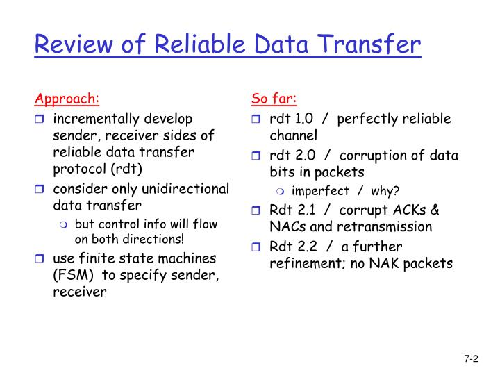 Review of reliable data transfer