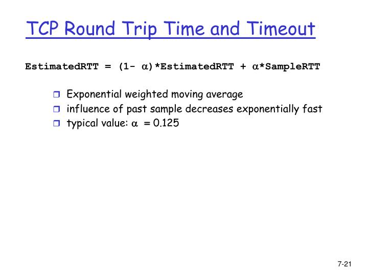 TCP Round Trip Time and Timeout