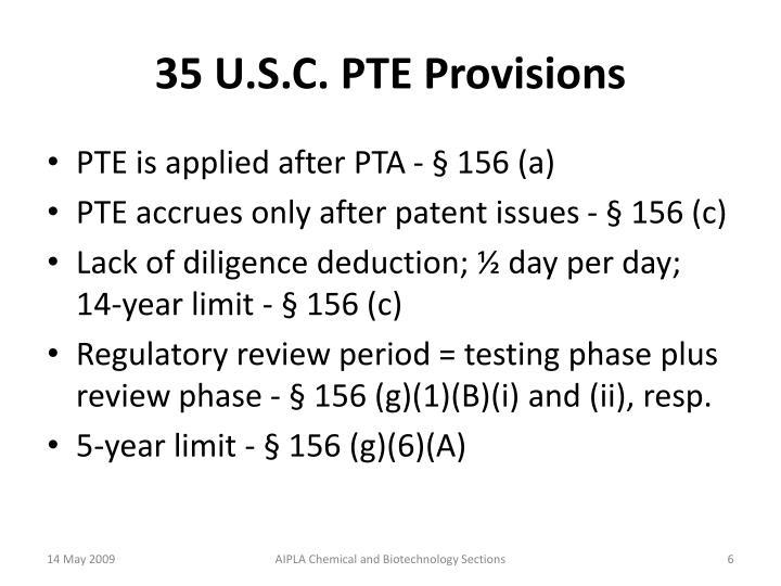 35 U.S.C. PTE Provisions