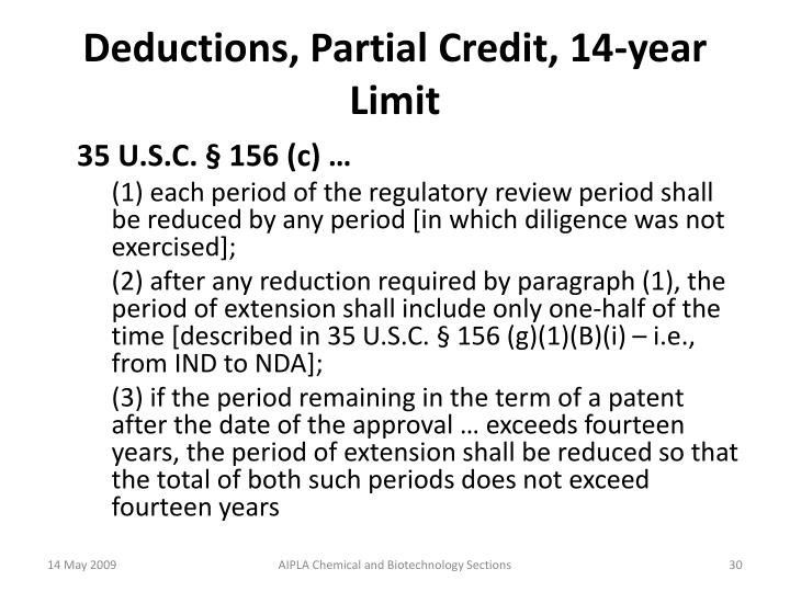 Deductions, Partial Credit, 14-year Limit