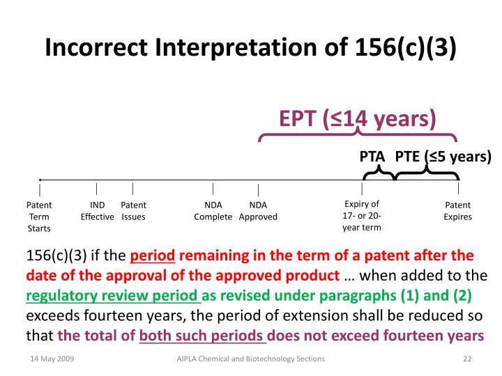 Incorrect Interpretation of 156(c)(3)