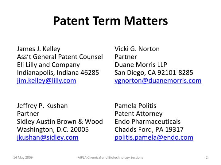 Patent term matters1