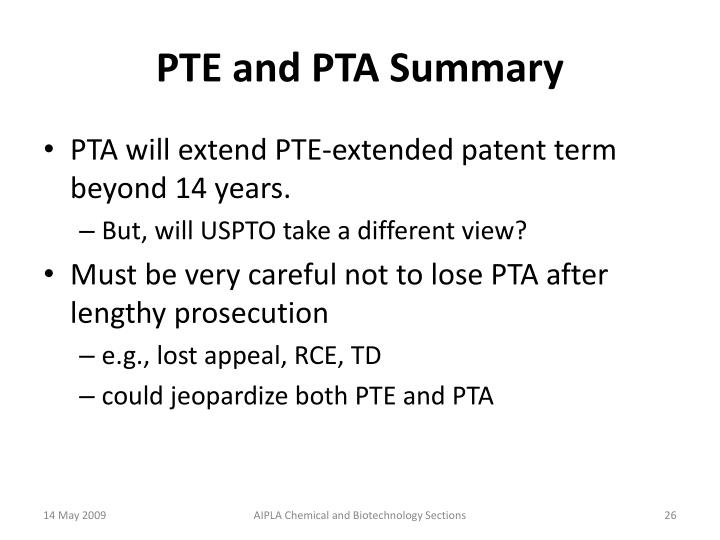 PTE and PTA Summary