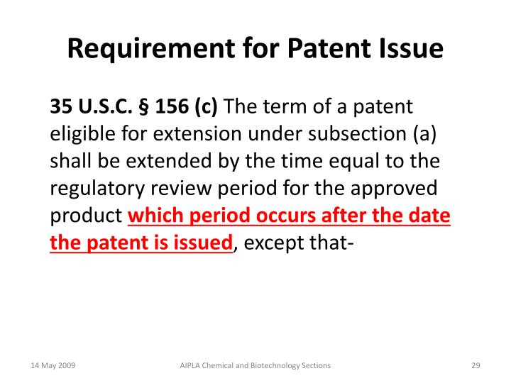 Requirement for Patent Issue