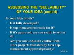 assessing the sellability of your idea cont d1