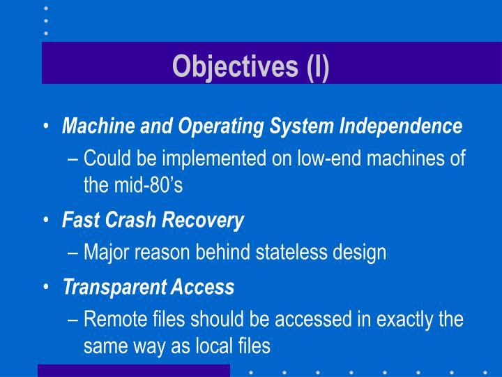 Objectives (I)