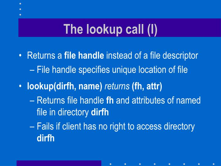The lookup call (I)
