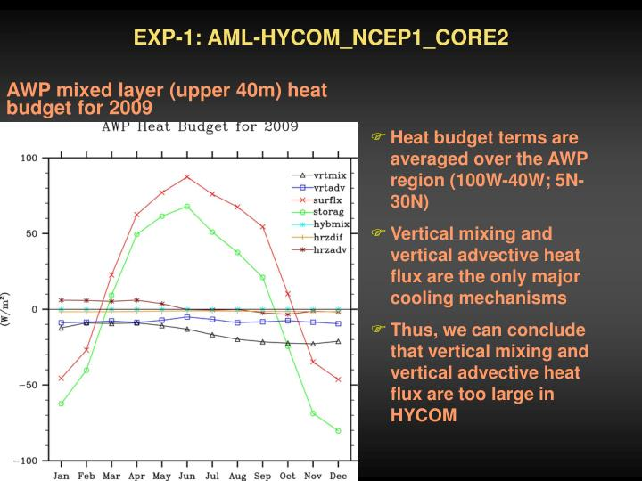 EXP-1: AML-HYCOM_NCEP1_CORE2
