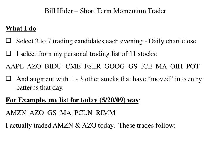 Bill Hider – Short Term Momentum Trader