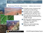 national park environs data successes