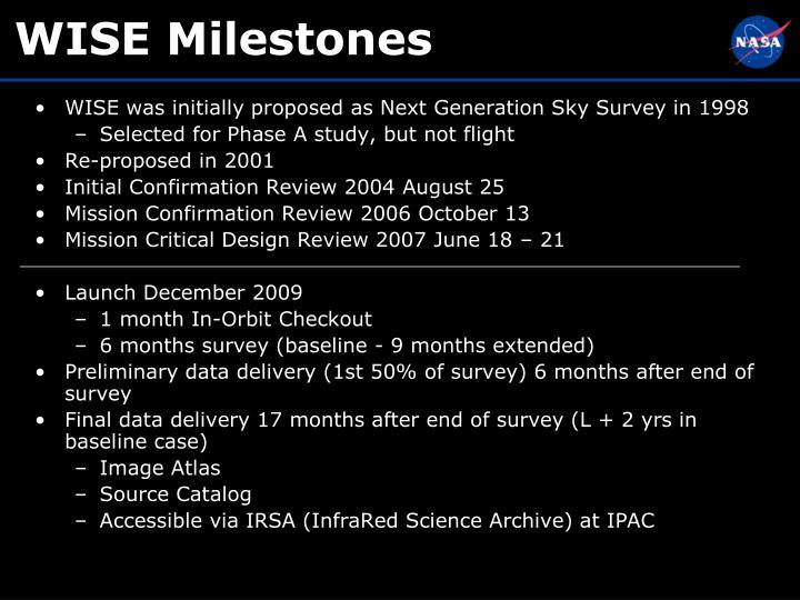 WISE Milestones