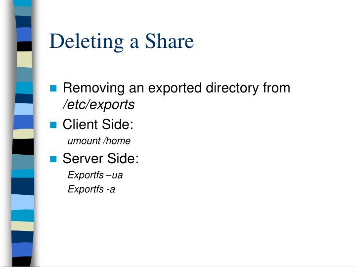 Deleting a Share