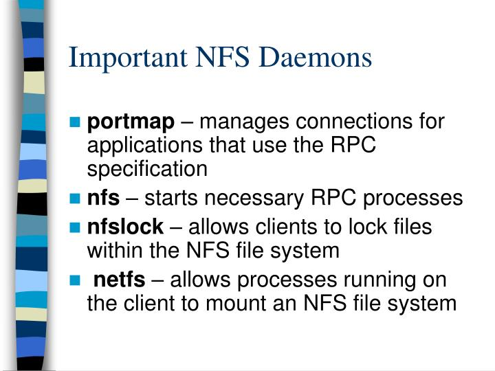 Important NFS Daemons