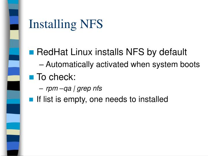 Installing NFS