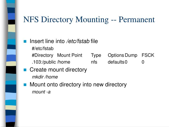 NFS Directory Mounting -- Permanent