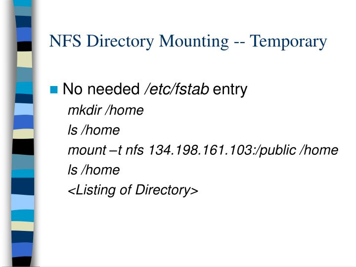 NFS Directory Mounting -- Temporary