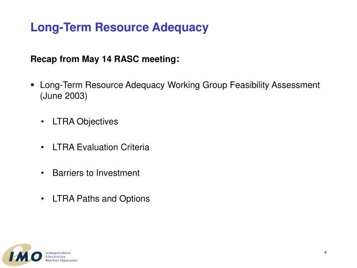 Long-Term Resource Adequacy