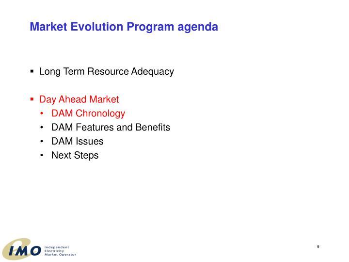 Market Evolution Program agenda