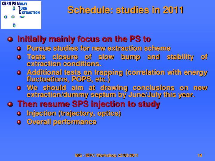 Schedule: studies in 2011