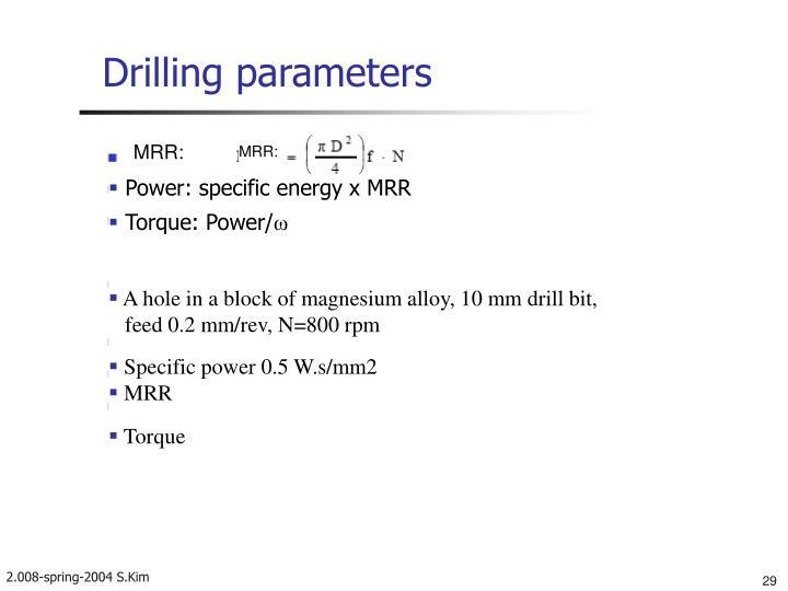 Drilling parameters