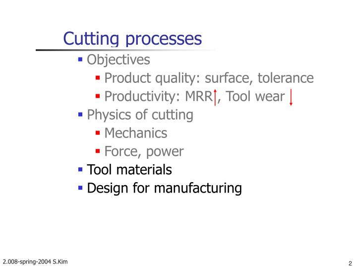Cutting processes
