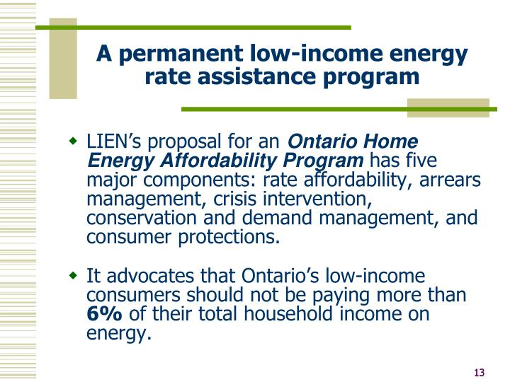 A permanent low-income energy rate assistance program