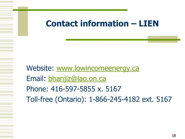 Contact information – LIEN