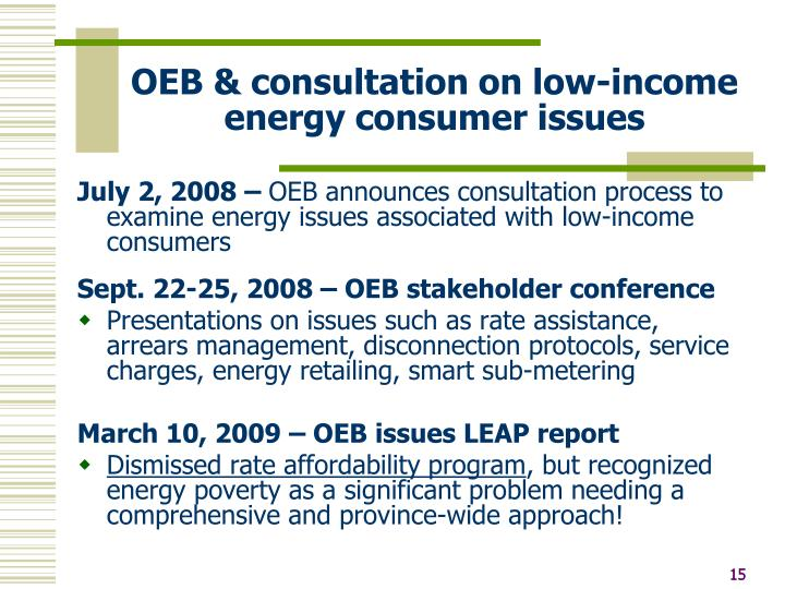 OEB & consultation on low-income energy consumer issues