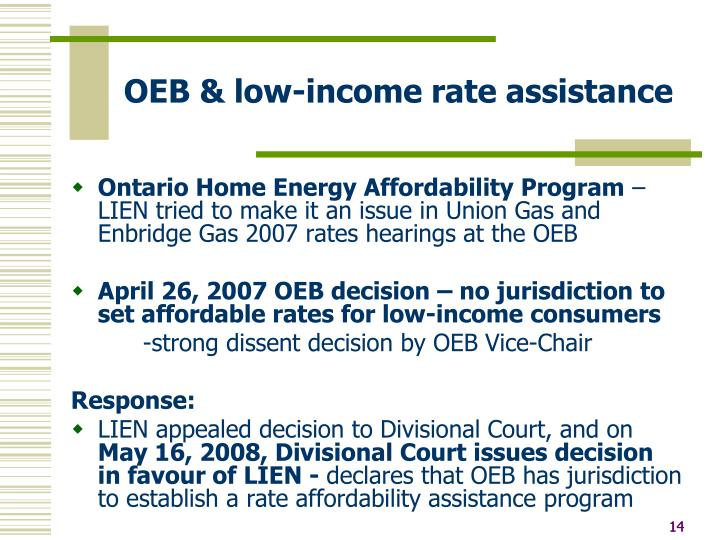 OEB & low-income rate assistance