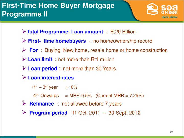 First-Time Home Buyer Mortgage Programme II