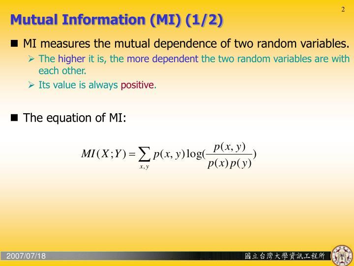 Mutual Information (MI) (1/2)
