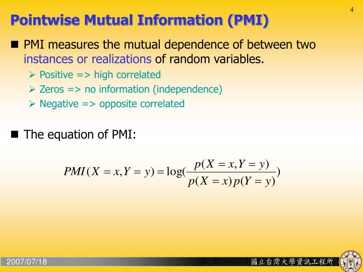 Pointwise Mutual Information (PMI)