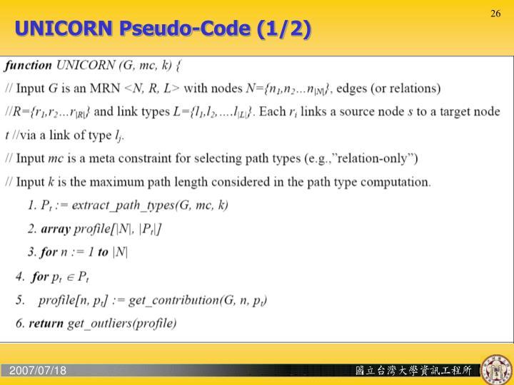 UNICORN Pseudo-Code (1/2)