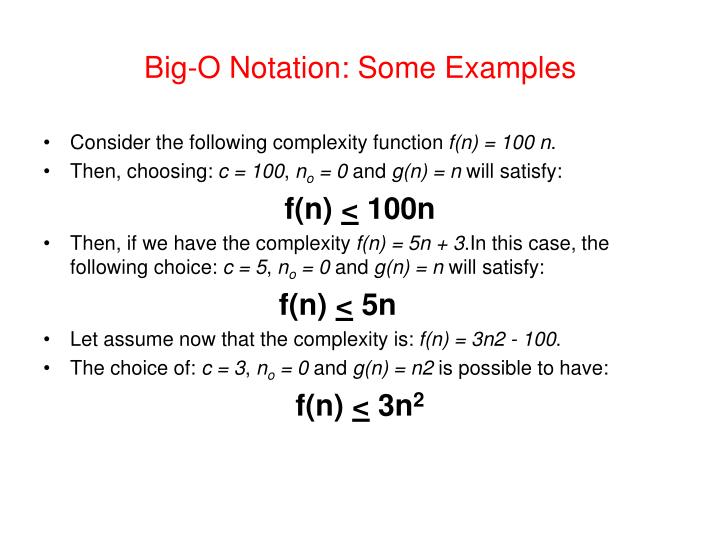 Big-O Notation: Some Examples