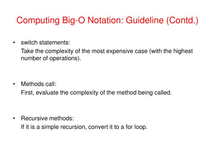 Computing Big-O Notation: Guideline (Contd.)