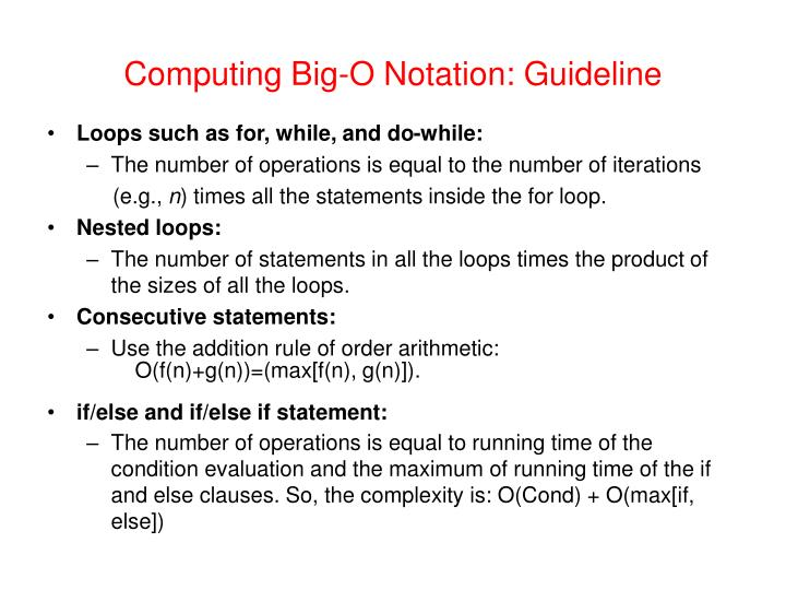 Computing Big-O Notation: Guideline