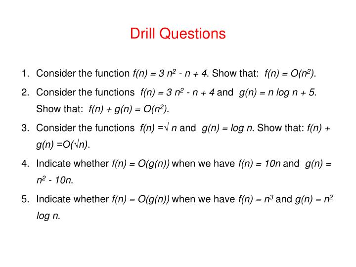 Drill Questions