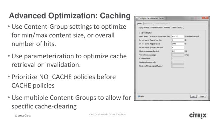 Advanced Optimization: Caching