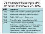 dle mezin rodn klasifikace mkn 10 revize praha uzis r 1992