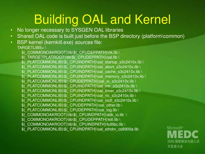 Building OAL and Kernel