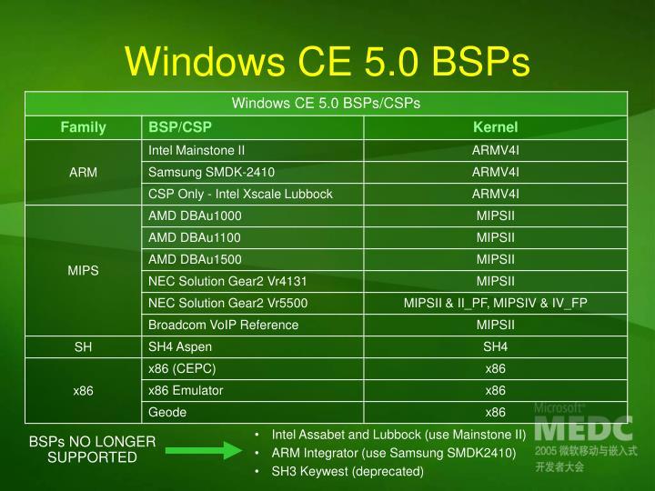Windows CE 5.0 BSPs