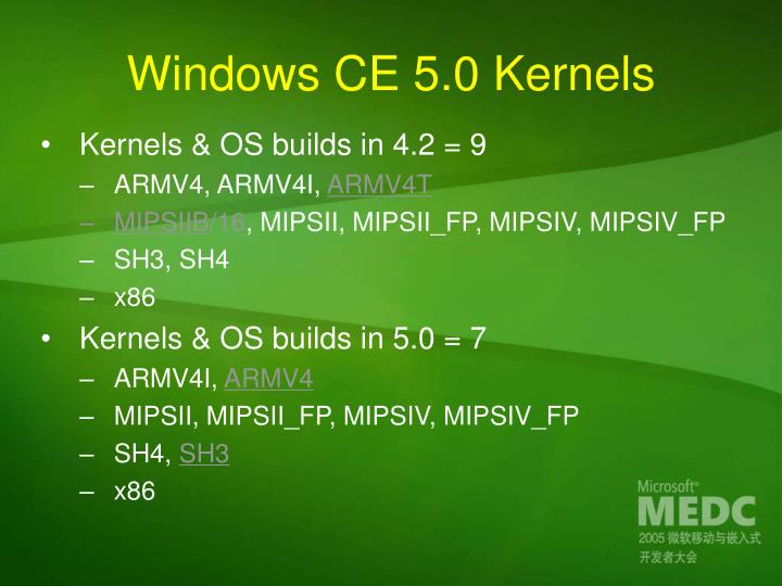 Windows CE 5.0 Kernels