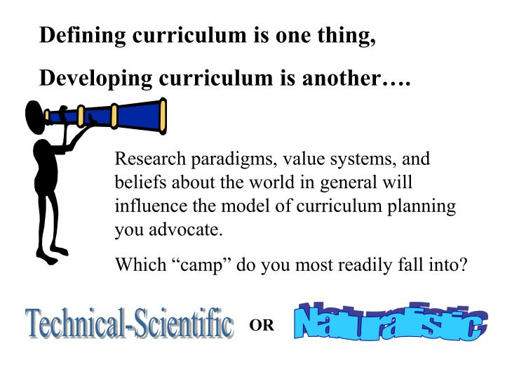 Defining curriculum is one thing,