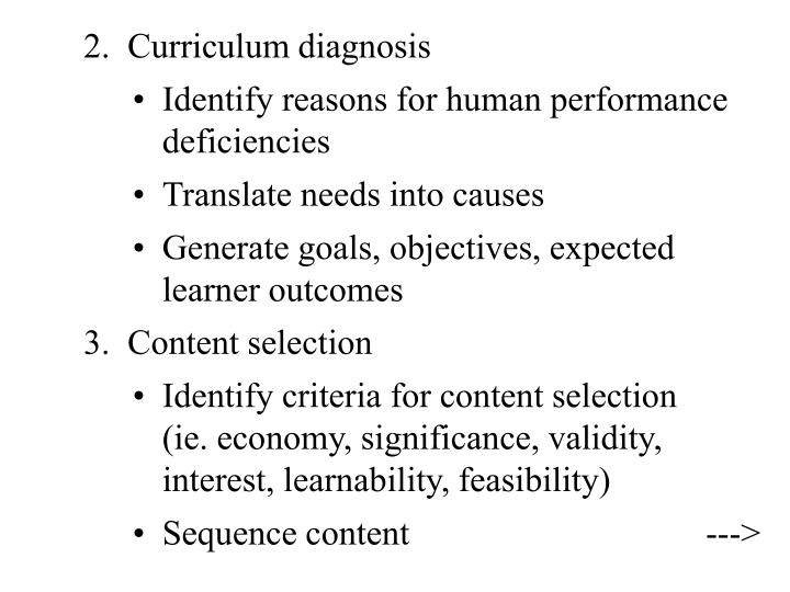 2.  Curriculum diagnosis